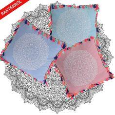 Boho mandalás rojtos párna 45 x 45 cm - Tukkii Design Mandala, Led, Design, Mandalas