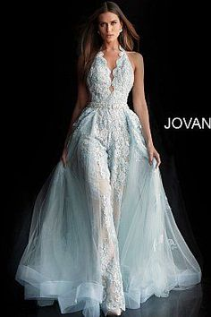 prom jumpsuit Jovani Prom 60124 Sonyas Clothing, Cranston RI, serving all of New England Jumpsuit Prom Dress, Wedding Jumpsuit, V Neck Wedding Dress, Light Blue Wedding Dress, Dress Prom, Wedding Dresses Detachable Skirt, Jumpsuit With Train, Wedding Rompers, Formal Jumpsuit