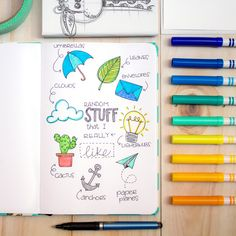 We are starting a Bullet Journal in our favourite Kimali notebook! These are some of our favourite objects. Bullet Journal First Page, Bullet Journal Hacks, Bullet Journals, Bullet Journal Inspiration, Journal Ideas, Cactus Drawing, Object Drawing, Cute Notebooks, Cute Stationery