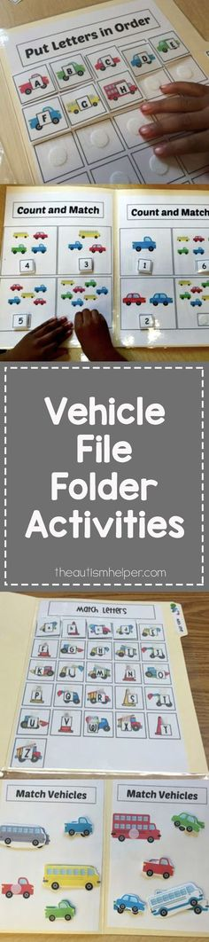 Vehicle File Folder Activities for Children with Special Needs and Autism to work on basic skills!