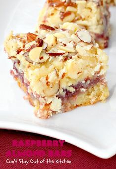 Raspberry Almond Bars – Can't Stay Out of the Kitchen Raspberry Recipes, Almond Recipes, Baking Recipes, Cookie Recipes, Dessert Recipes, Vegan Recipes, Cake Bars, Dessert Bars, Holiday Baking