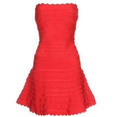 NEONICE Scalloped Strapless Bandage Dress Red H320R