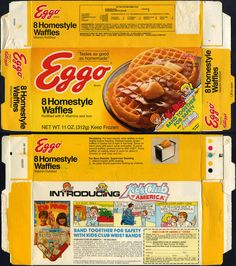 Eggo - Homestyle Waffles box - Kids Club of America mail-away - 1986 - Seen in Stranger Things Stranger Things Halloween, Stranger Things Funny, Stranger Things Netflix, Eggo Waffles, Stranger Things Aesthetic, Printable Stickers, Meme Stickers, Food Stickers, Planner Stickers