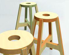 Drill Design Paper Wood Stools