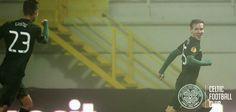 FC Astra v Celtic, November 6, 2014. Mikael Lustig rushes to celebrate with goalscorer Stefan Johansen.