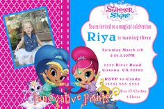 Shimmer & Shine Birthday Invitation. Click on the image twice to place orders or follow me on facebook. or email me at the address in BIO.
