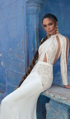 Bridal long sleeves high neck heaily embellished bodice romantic sexy fit and flare wedding gown swept train #weddingdress #wedding #weddings #bride
