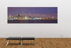 Colour Landscape panoramic photograph of Liverpool Skyline / fine art / canvas print / sunset / wallart / home decor