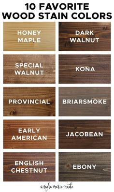 10 favorite wood stain colors and what they actually look like on real wood samples and projects! Each of these stains are easy to find and purchase and budget friendly too! stain 10 Favorite Wood Stain Colors - Angela Marie Made Dark Wood Stain, How To Stain Wood, Espresso Wood Stain, Staining Pine Wood, Best Wood Stain, Gray Stain, Stain On Pine, Wood Sample, Diy Décoration