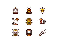 Sources of Light Icons by Sander de Wekker Flat Design Illustration, Line Illustration, Illustrations, Line Design, Icon Design, Launcher Icon, Light Icon, Small Icons, Website Icons