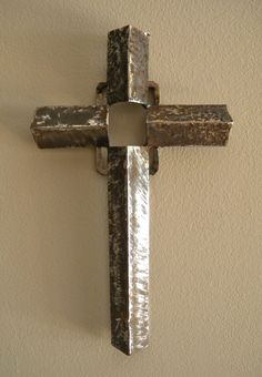 Crosses made of industrial scrap iron by artist Catherine Partain, at crossesbycatherine.com