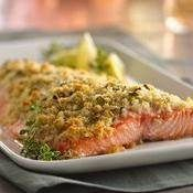 Lemon- and Parmesan-Crusted Salmon - Now you can make crusted salmon that tastes like it's from a fine seafood restaurant! Salmon Recipes, Fish Recipes, Seafood Recipes, Dinner Recipes, Cooking Recipes, Healthy Recipes, Dinner Ideas, Cooking Ham, Cooking Ribs