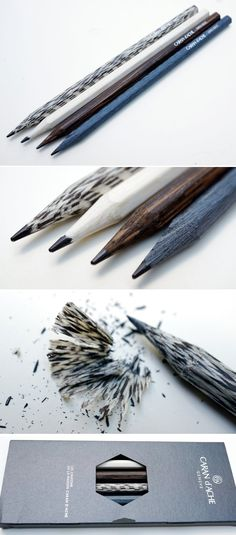 pencils made from Titanium Oak, Macassar Ebony, Lati Gray, and American Walnut made by Les crayons de la maison Caran d'Ache