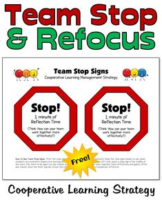 Team Stop Signs Help Kids Stop and Refocus Leadership Activities, Physical Education Games, Teacher Resources, Group Activities, Cooperative Learning Strategies, Teaching Strategies, Teaching Tips, Elementary School Counseling, Elementary Schools