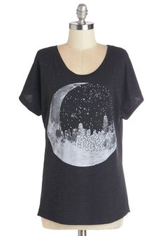 Urban Eclipse Tee. Your favorite band is playing in the East Village tonight, so you throw on this heathered charcoal T-shirt with its screen-printed cityscape and make your way towards the music hall. #black #modcloth
