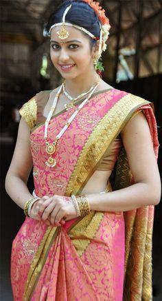Beautiful Indian Actress, Beautiful Actresses, Beautiful Bride, Beautiful Saree, Beautiful Roses, Gorgeous Women, Rakul Preet Singh Saree, Bridal Sari, Wedding Sarees