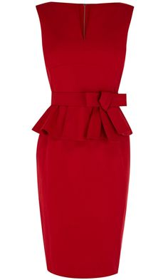 Sleeveless Boat-neck Pencil Dress with Peplum and Belt