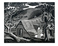 """""""Sussex Landscape"""" by Eric Ravilious, 1931 (wood engraving)"""