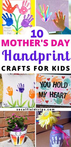 Make one of these 10 Mother's Day Handprint Crafts for Kids! They are also great crafts and gifts to make as Christmas and birthday presents for women. ideas for kids 10 Mother's Day Handprint Crafts For Kids Presents For Women, Mothers Day Presents, Mothers Day Cards, Clay Handprint, Mother's Day Activities, Infant Activities, Mother Day Message, Mothers Day Crafts For Kids, Footprint Crafts