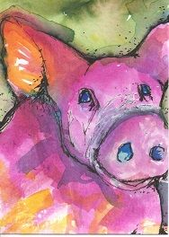 Barn yard animal ATC swap card. Watercolor by Bonnie Tincup