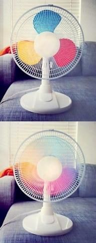 Paint your fan blades in primary colors and they blend into a rainbow when turned on :)