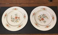 "Pair of Lenox Temple Blossom Dinner Plates 11"" Hand Painted Floral Design  