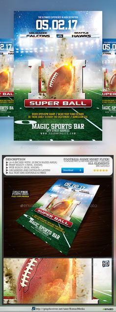 Football Game Flyer  Flyer Template Promotion And Gaming