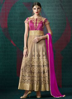 Remarkable Beige and #Pink #wholesale #Salwar Kameez Online Shopping for #wedding and #festival #season in India. To get more, Call on: +91-8347727772