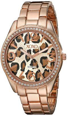 http://www.lookingwear.com/category/xoxo-watches-women/ XOXO Women's XO5638 Rose Gold-Tone Leopard Dial Dress Watch