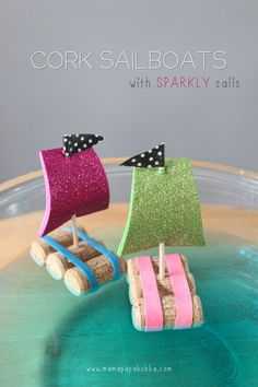 Been searching for the best DIY boat tutorial I can find. This one is really great ... because I would need to buy six bottles of wine to have the supplies : ) Cursing how I threw out all those saved corks that one day. Cork Sailboats With Sparkly Sails