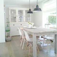 Different white dining chairs. Dining Room Wall Decor, Room Decor, White Dining Chairs, Eames Chairs, Room Chairs, Home Decor Inspiration, Decor Ideas, Home And Living, Living Room