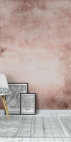 Concrete Rose Blush terracotta Wall Mural / Wallpaper Surface - New Site Bedroom Wallpaper Pastel, Blush Wallpaper, Look Wallpaper, Pastel Bedroom, Gold Walls, Pink Walls, Concrete Rose, Concrete Texture, Murs Roses