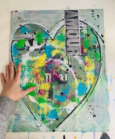 Love Abstract Mixed Media| French Green Collage Artwork | Contemporary Art | Amour Collage on Canvas Board | Wall Artwork | Love Romance Mixed Media Painting, Mixed Media Collage, Ink Painting, Collage Artwork, Paper Artwork, Pretty Art, Cute Art, Original Artwork, Original Paintings