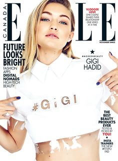 GIGI HADID is the cover girl for the November 2015 issue of ELLE Canada. Photographer Max Abadian Fashion direction Juliana Schiavinatto (P1M.ca) Hair Vittorio (Plutinogroup.com) Makeup Grace Lee, lead makeup artist for Maybelline New York (Canada) Manicure Leeanne Colley (P1M.ca) Art direction Brittany Eccles