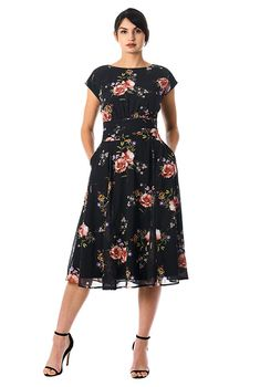 c4622caf0b I  lt 3 this Rose print pleated empire georgette dress from eShakti Casual  Gowns