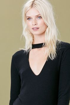 LNA Clothing – Bardot Long Sleeve - Black