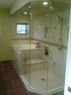 Soaking tub shower combo.