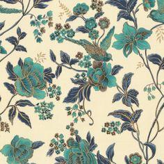 aqua floral bird organic cotton fabric     At First Blush : Waterfall      #loomdecor