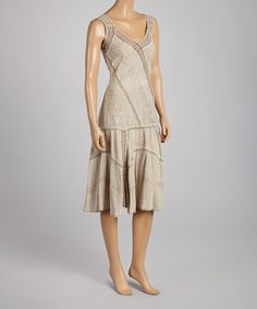 Look what I found on #zulily! Beige Lace Embroidered Drop-Waist Dress - Women & Plus by Coline USA #zulilyfinds