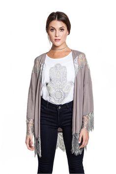 Gypsy Society Lace Kimono - Slate | Daily Chic