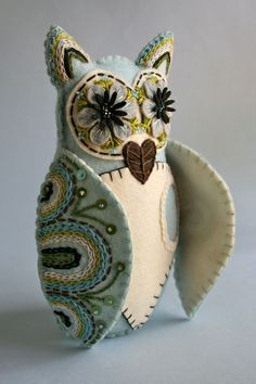 Felt Owl Doll- Mexican Folk Art- Blue and White. $120.00, via Etsy.