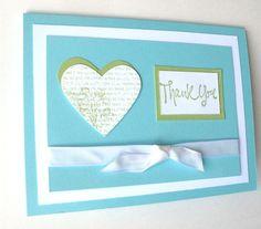 Thank You Card Handmade Card Wedding Gift Thank You by klinwin, $1.85