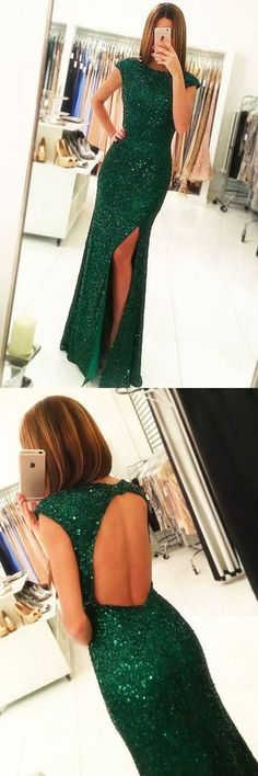 Dark green formal party dress with open back cap sleeves, sparkle split prom