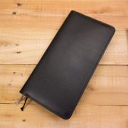Leather Hobonichi Weeks Cover, Index Card Holder, Black, Black Stitching
