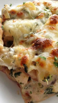 I really love the combination of spinach, mushrooms and cheese in this and the crusty broiled cheese on top.