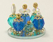 Dollhouse Miniature Perfume Bottle Collection Oceans Blue Azure Teal One Inch Scale