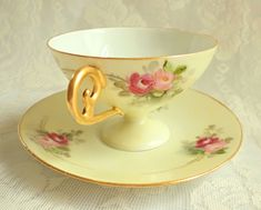 Antique RS Germany Yellow Hand Painted Rose Porcelain Teacup Satin Finish Tillowitz