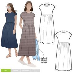 Montana Midi Dress Sewing Pattern PDF – PDF Dress Sewing Patterns – Style Arc Midi length high waisted pull on dress with an extended shoulder line. Linen Dress Pattern, Simple Dress Pattern, Summer Dress Patterns, Dress Sewing Patterns, Clothing Patterns, Pdf Patterns, Paper Patterns, Dress Pattern Free, Sewing Summer Dresses