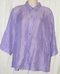 $18.99 	  Chico's Purple Linen/Silk Blend Button Front 3/4 Sleeve Top 1 M