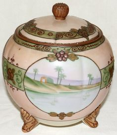 NIPPON HAND PAINTED PORCELAIN BISCUIT JAR